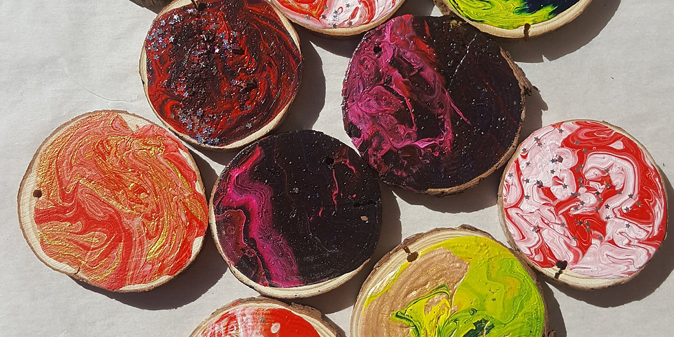 Virtual Ornament Class, Acrylic Pour Paint on Rustic Wood Slices