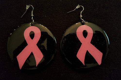 Breast Cancer Ribbon Black Earrings