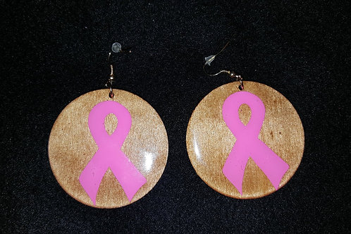 Pink Ribbon Brown Earrings