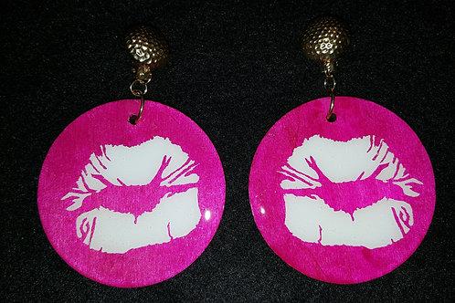 White Lips Pink Earrings
