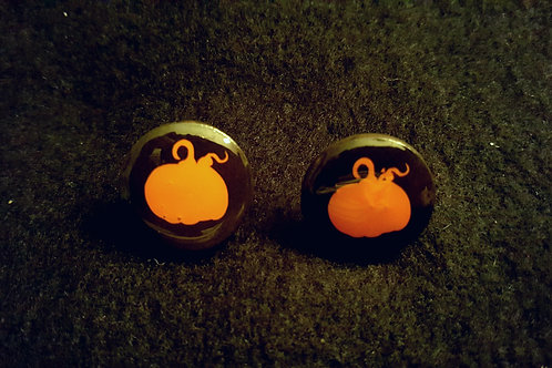 Fall Pumpkin Button Black Earrings