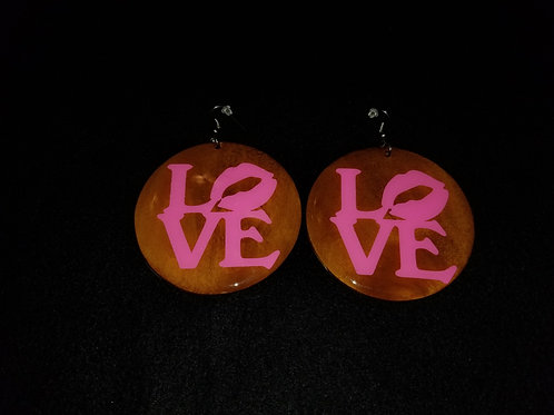 Pink Love Brown Earrings