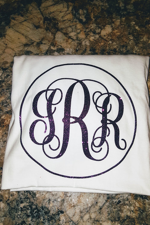 Custom Glitter Monogram t-shirt