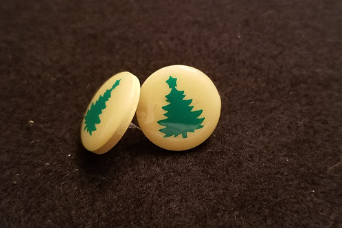 Holiday Tree Button Earrings