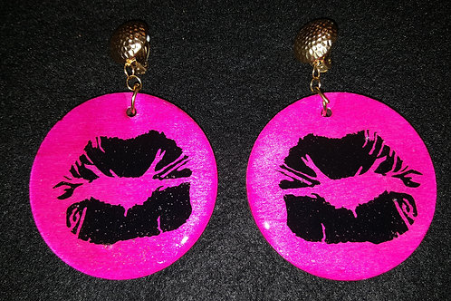 Black Lips Pink Earrings