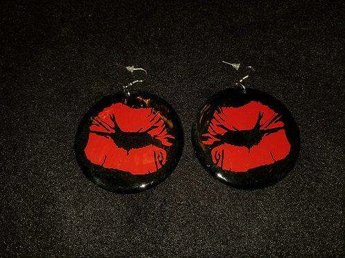 Red Lips Black Earrings