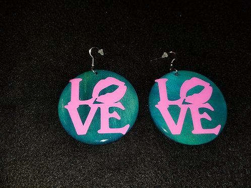 Pink Love Teal Earrings