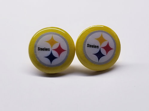 Steelers Button Earrings