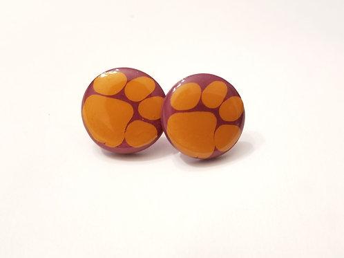 Clemson Button Earrings