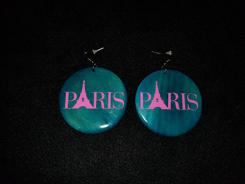 Pink Paris Teal Earrings
