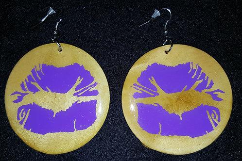 Purple Lips Brown Earrings