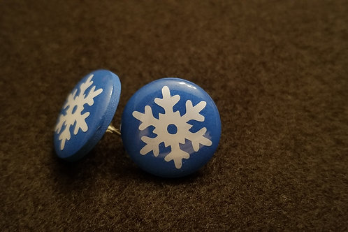 Snowflake Blue Button Earrings