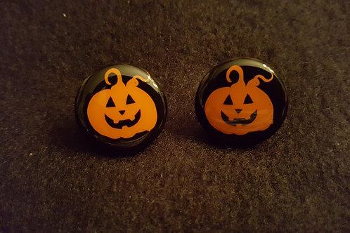 Pumpkin Face Black Earrings