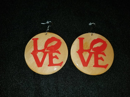 Red Love Brown Earrings