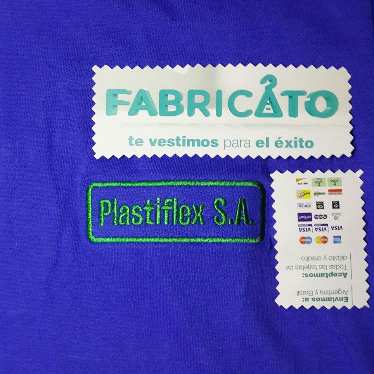 Remera Básica Bordada Plastiflex Azul Francia