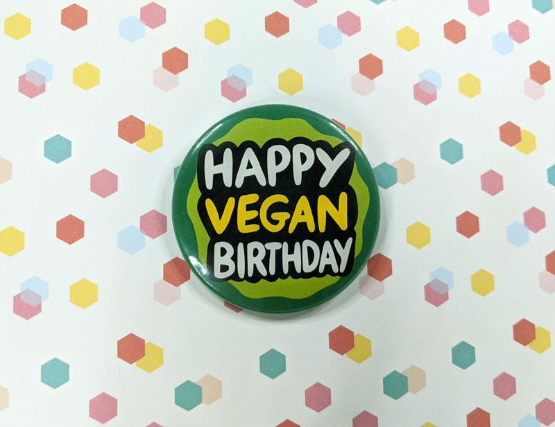 happy vegan birthday badge