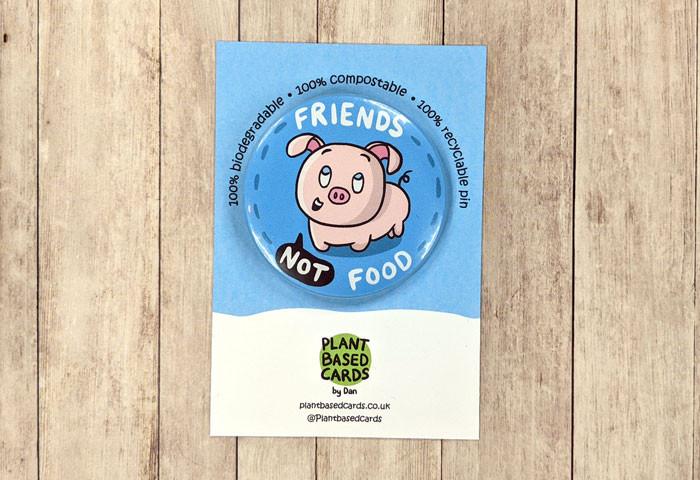 friends not food pin badge