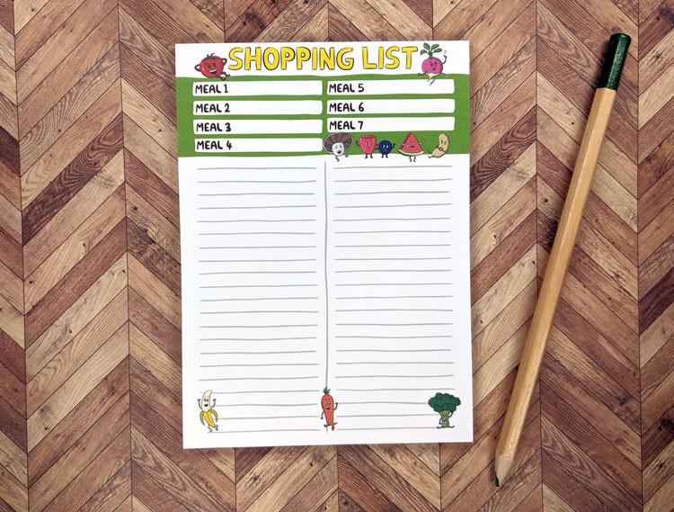 healthy shopping list pad