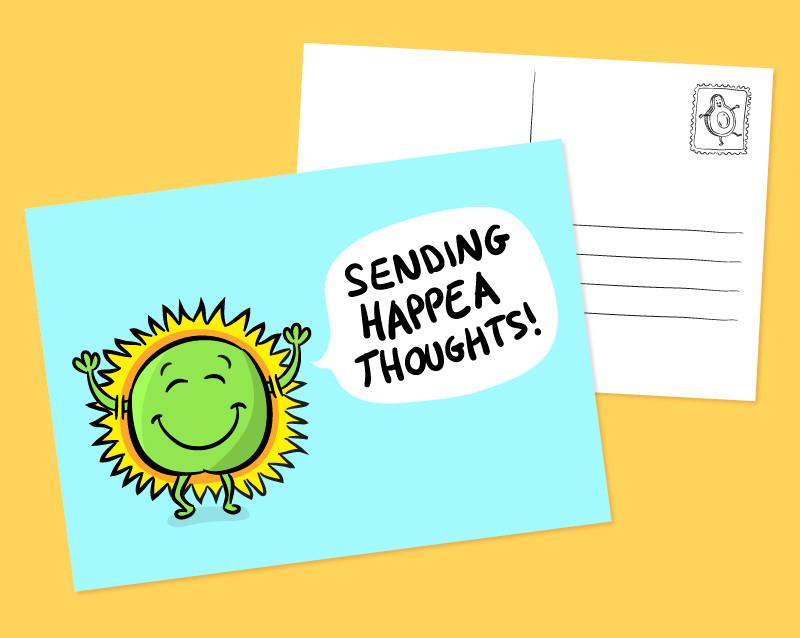 positive pea postcard