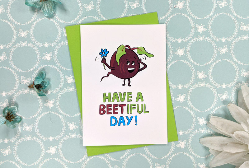 beetroot birthday card