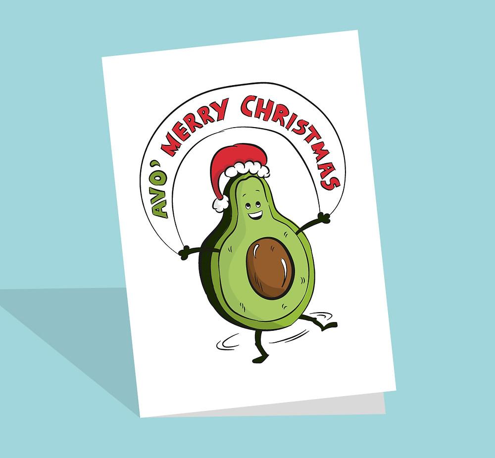 Avocado christmas card
