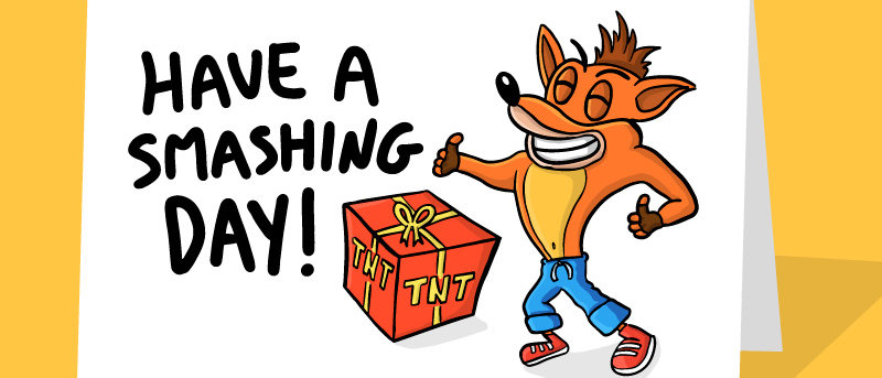 crash bandicoot birthday card
