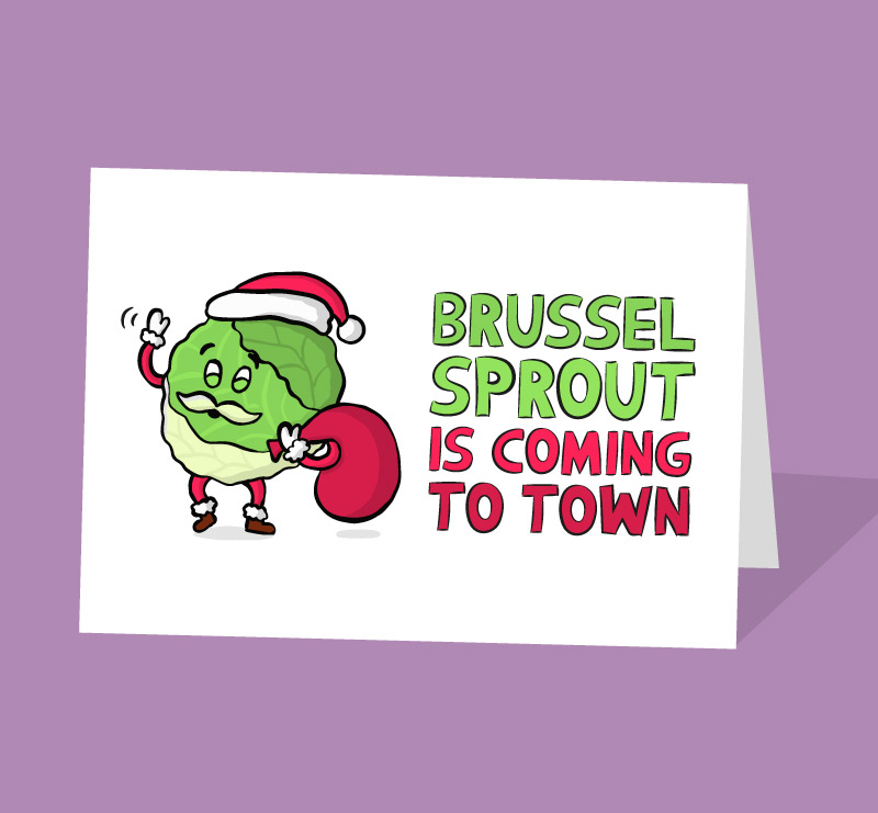 funny brussel sprout christmas card