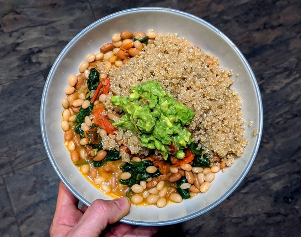 vegan spinach and bean bowl