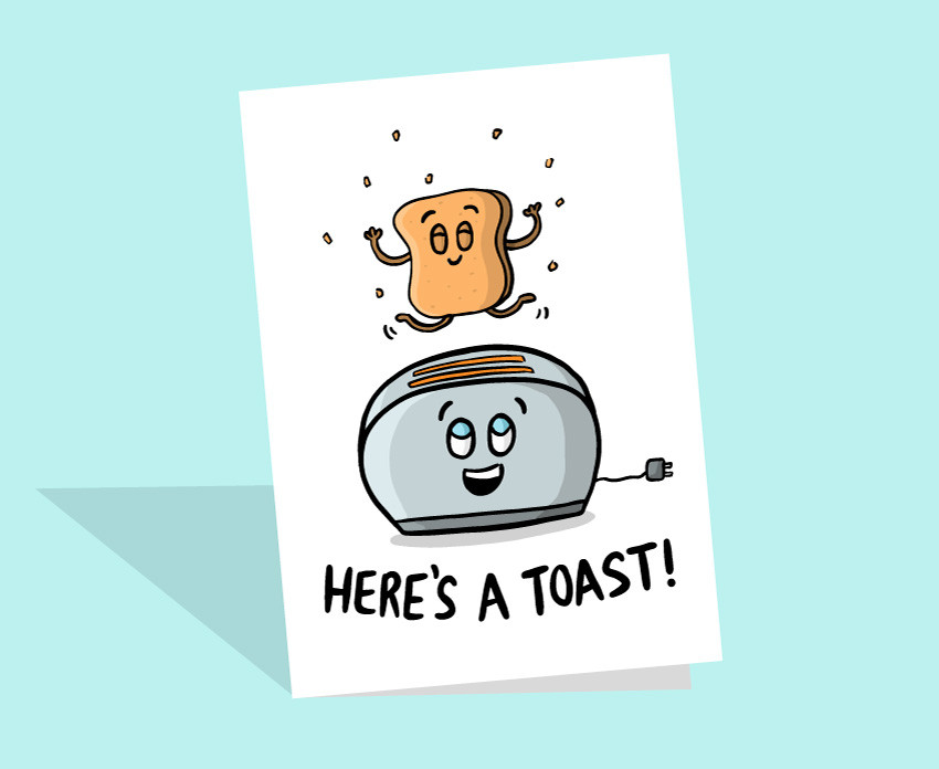 cute toast card