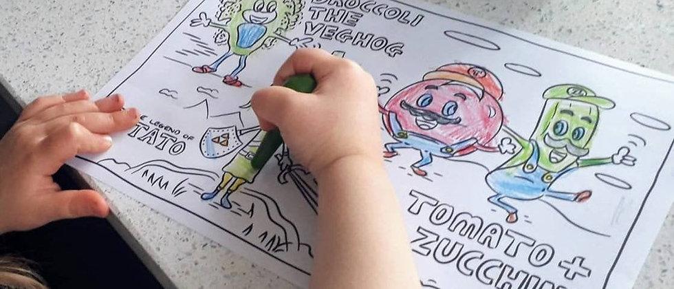 Vegan kids Colouring Sheet Download