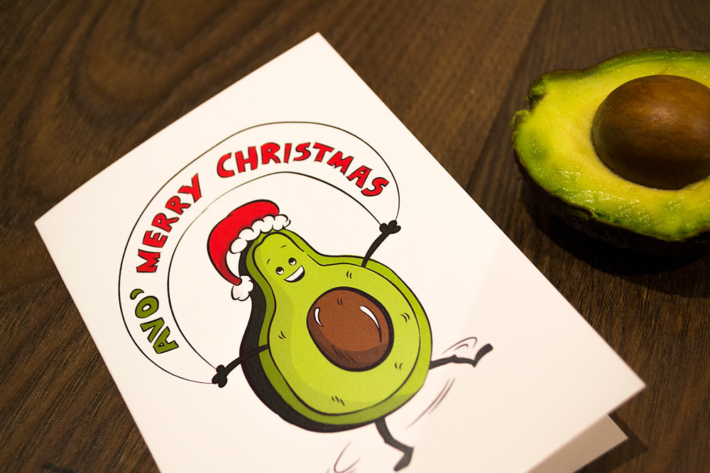 vegan christmas card avocado