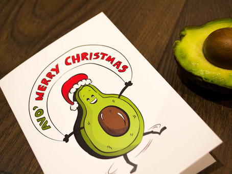 Avocado Christmas Card - Vegan christmas