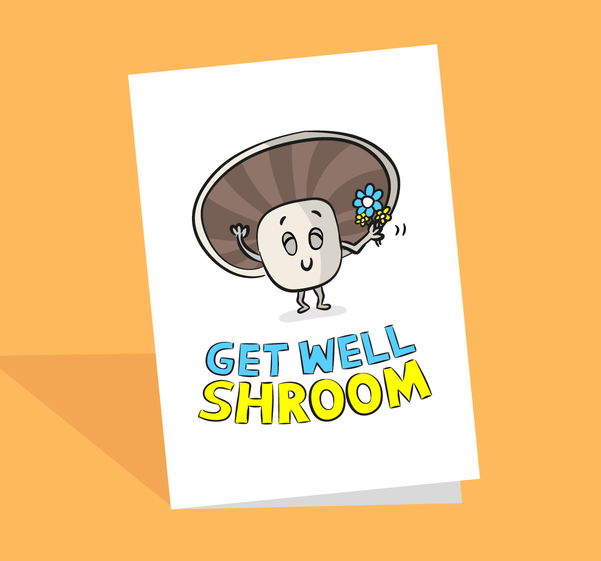 Get well soon mushroom card