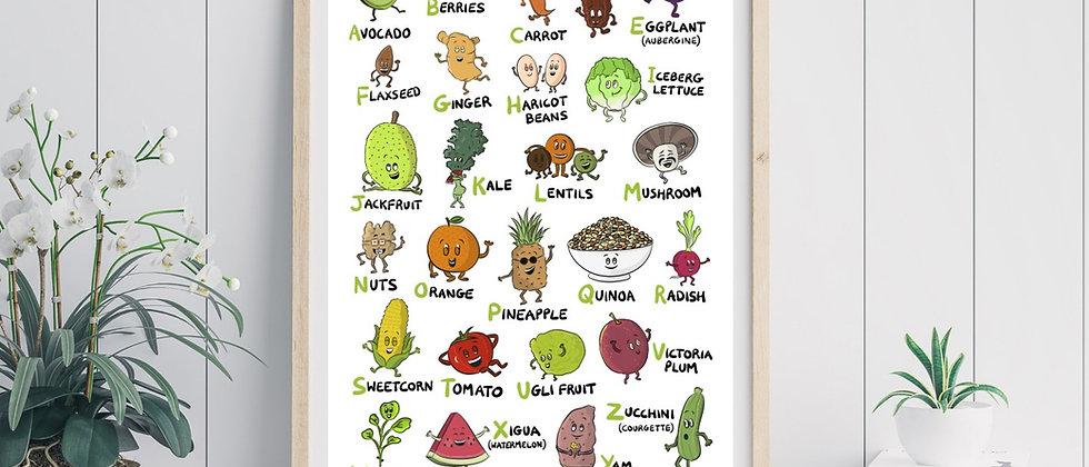vegan alphabet print