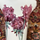 """Thumbnail: 12"""" Vase, white Background & luster geraniums with gold on inside and out"""