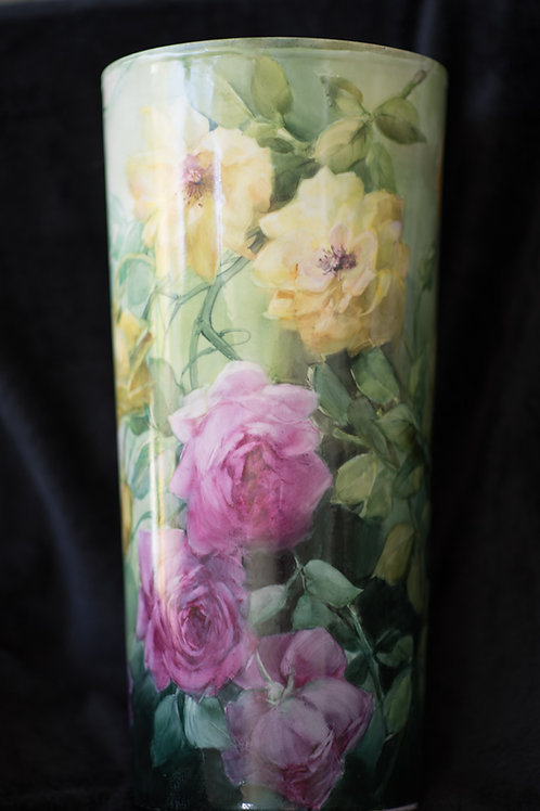 """Umbrella stand with yellow & ruby roses 16""""tall and 8""""wide"""