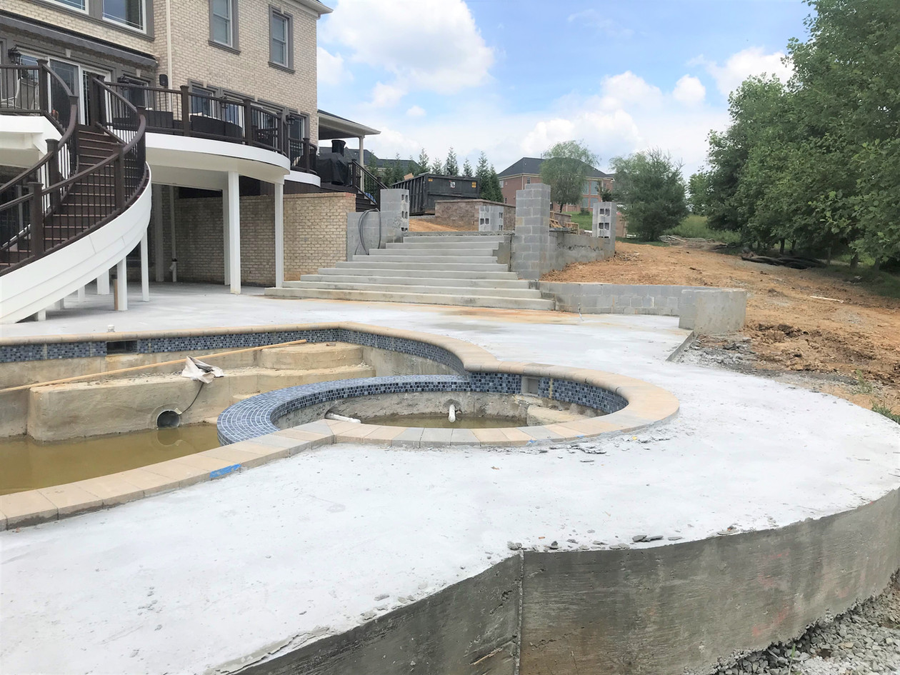 Concrete Underlayment around pool & Stairs