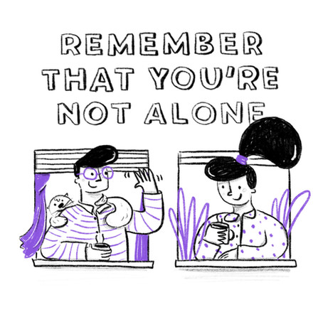 Quarantine Illustration Series for Fiverr's social media