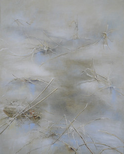 Hvit poesi 1, 80x100 cm, akryl SOLGT