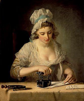 Maid ironing with coal iron.