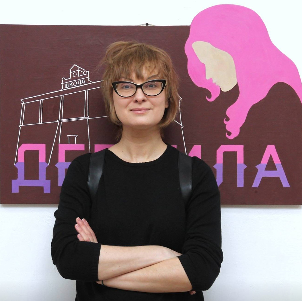 Данита Пушкарева в день открытия выставки с работой «Дерзила»  Фото: Яков Кальменс