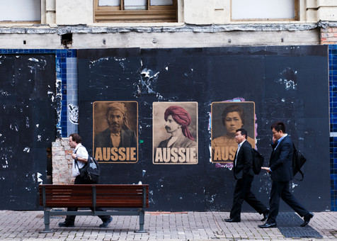 Posters displayed in the Brisbane city centre as a show of support for refugees.