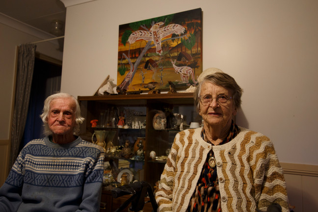 Grace and John Lithgow in their home at the Windmill Gardens Retirement Village. Chinchilla, Queensland, Australia.
