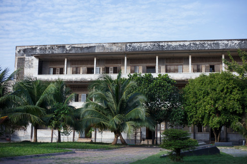 Main building at the Tuol Sleng Genocide Museum, Phnom Penh, Cambodia.  In the years 1975-79, over a million people were killed by the Khmer Rouge regime in Cambodia.  At the Tuol Sleng centre, some 20, 000 political prisoners were tortured and murdered.