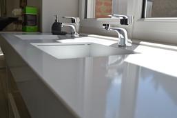 Plan de salle de bains quartz blanc