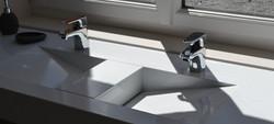 Vasque double quartz blanc
