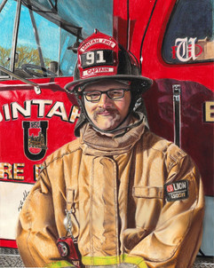 Commissioned piece for a local fireman. Colored pencil on paper.