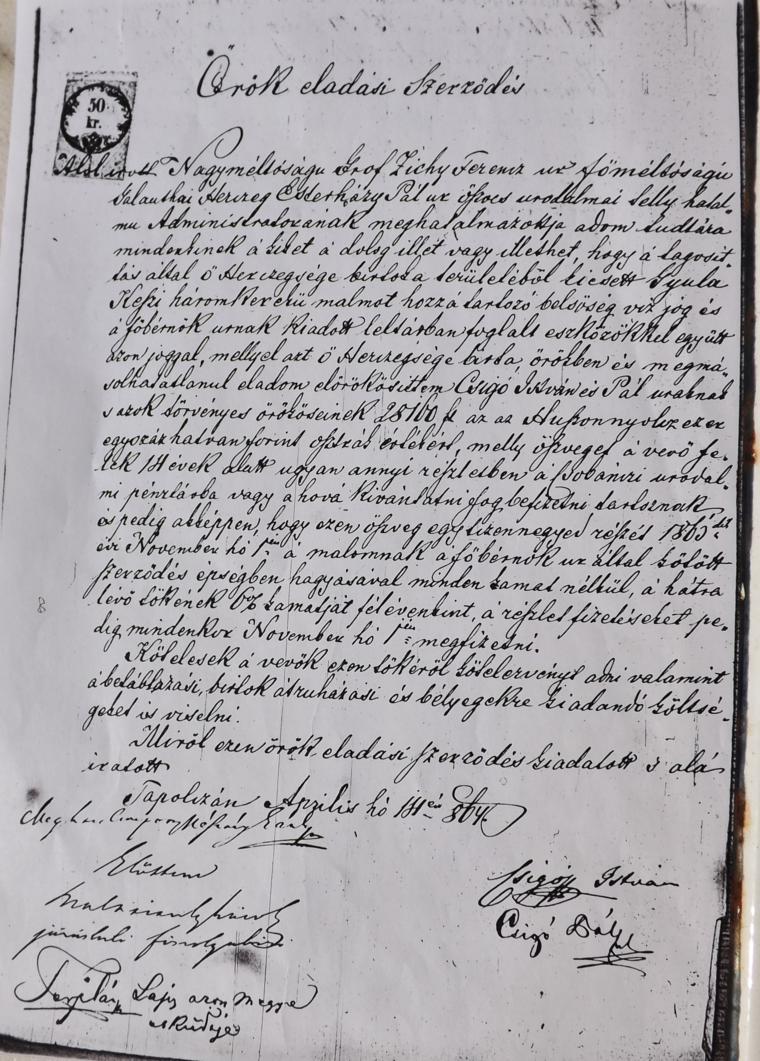 Örök eladási szerződés 1864