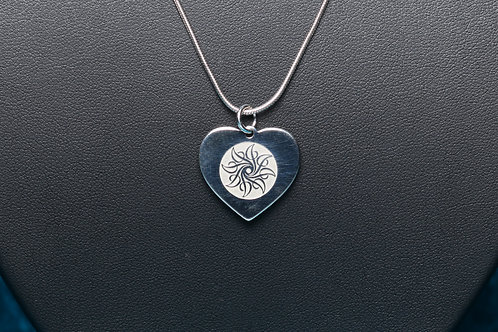 Heart Etched Pendant