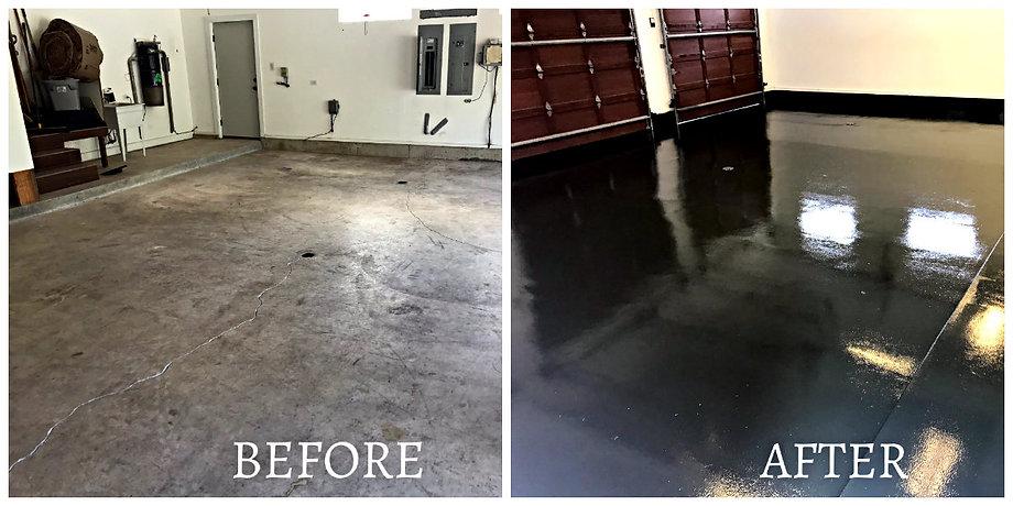 Before & After Garage Floor Epoxy Coating